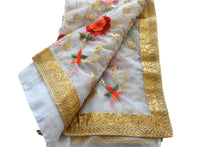 Load image into Gallery viewer, Chiffon Net Embroidered Saree with Gold Sequin and Flower Embroidery in White Color