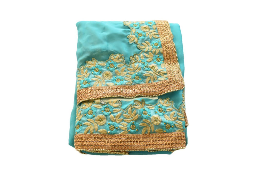 Pure Georgette Satin finish Saree with Golden beads and Gold Thread Embroidery in Aqua Blue color