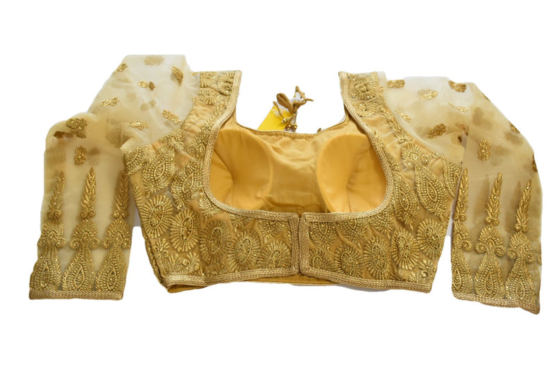 Embroidered Saree Blouse III in Rich Golden Color, Size - Small/Medium