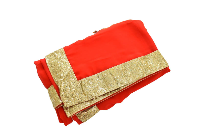 Bright Red Color - Pure Silk Georgette Blend Saree - Gold Sequin Border - Rich Elegant