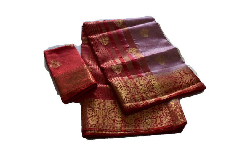 Rouge Pink Two-Tone Color - Pure Silk Blend Saree, Floral Zari Design