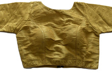 Load image into Gallery viewer, Pure Silk embroidered Saree Blouse in Gold Color