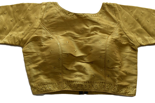 Pure Silk embroidered Saree Blouse in Gold Color