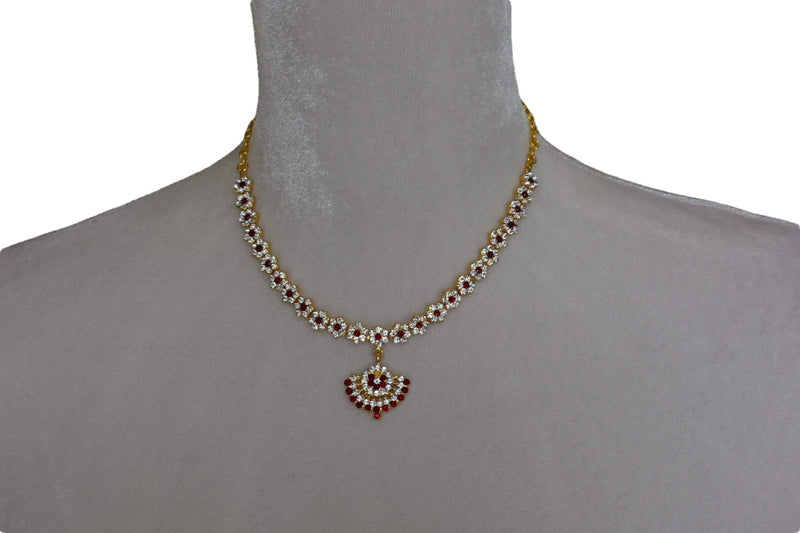 Gold Plated Necklace I with white and colored jewel stone