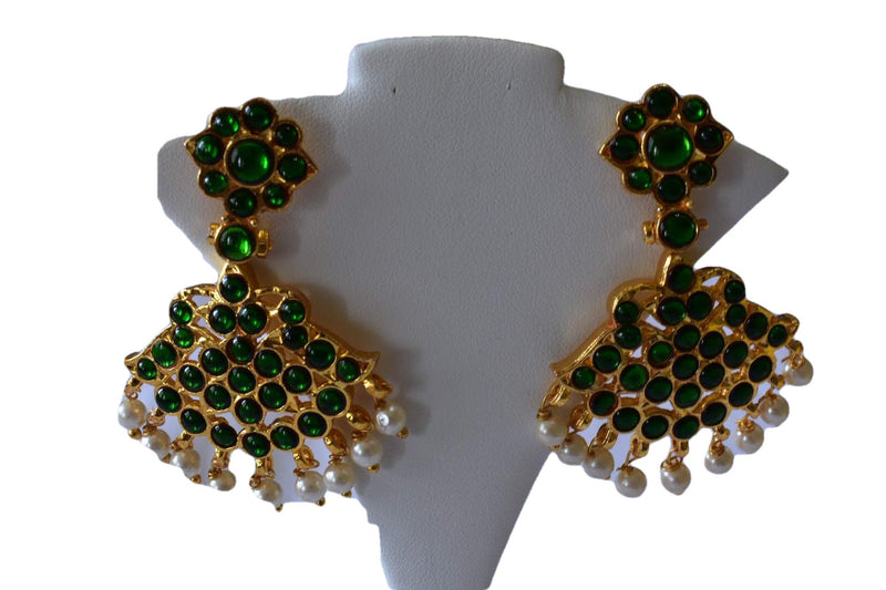 Gold Plated Necklace and Earrings in Green Enamel and Pearl Beads Design