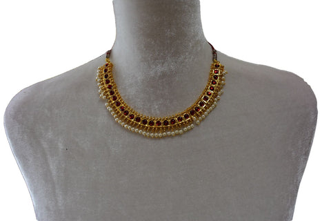 Gold Plated Necklace with earrings in Maroon enamel and Pearl beads design