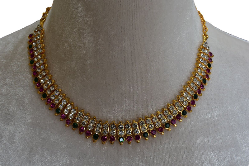 Gold Plated Necklace with White and Colored Stone Jewels
