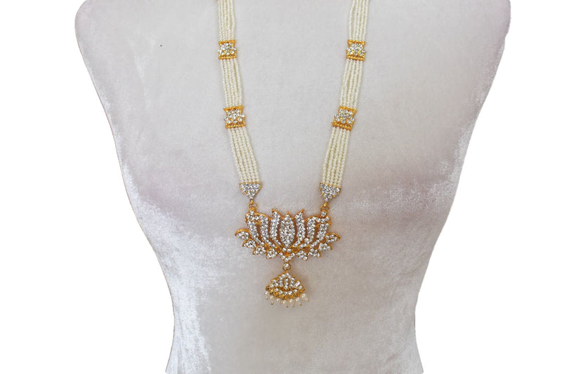 Gold Plated Pearl Necklace with Lotus design pendant II