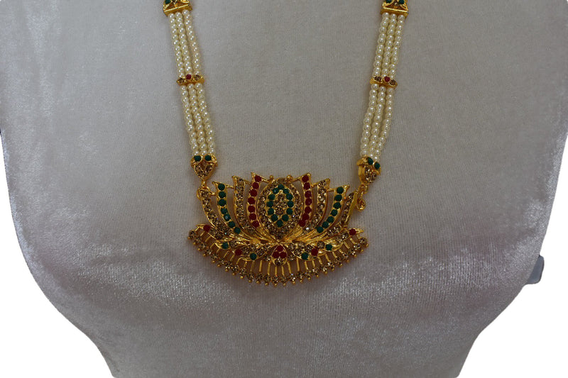 Gold Plated Pearl Necklace with Lotus design pendant with pink green jewel stones