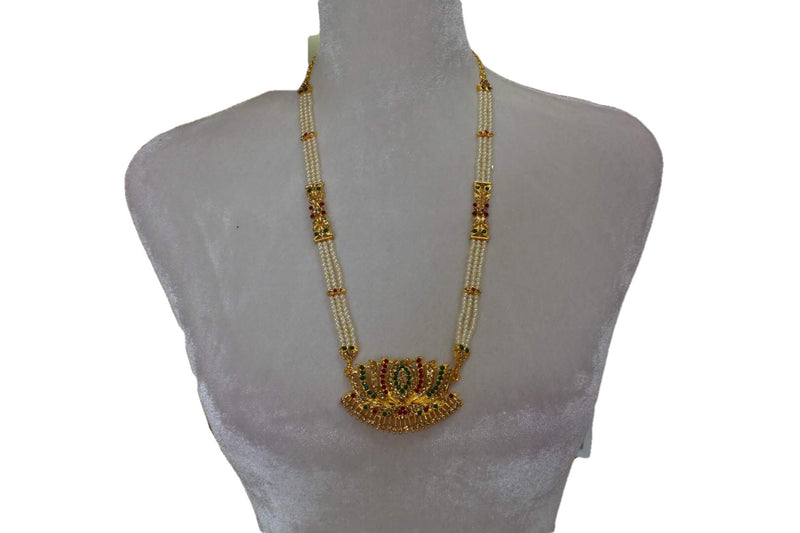 Gold Plated Pearl Necklace with Lotus design pendant I