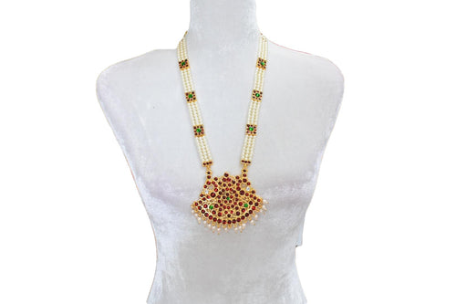Pearl Bead Necklace Bharatnatyam Fashion Jewelry, Also used as Deity Jewelry