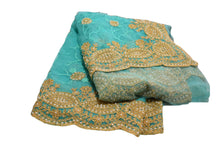 Load image into Gallery viewer, Chiffon Net Embroidered Saree with Pearl Beads in Turquoise Blue color