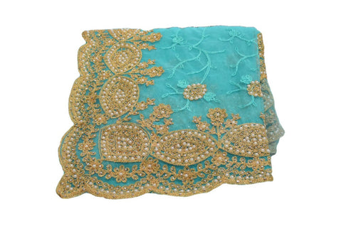 Chiffon Net Embroidered Saree with Pearl Beads in Turquoise Blue color