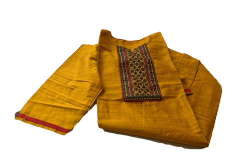 Pure Silk Kurti Top in Yellow color