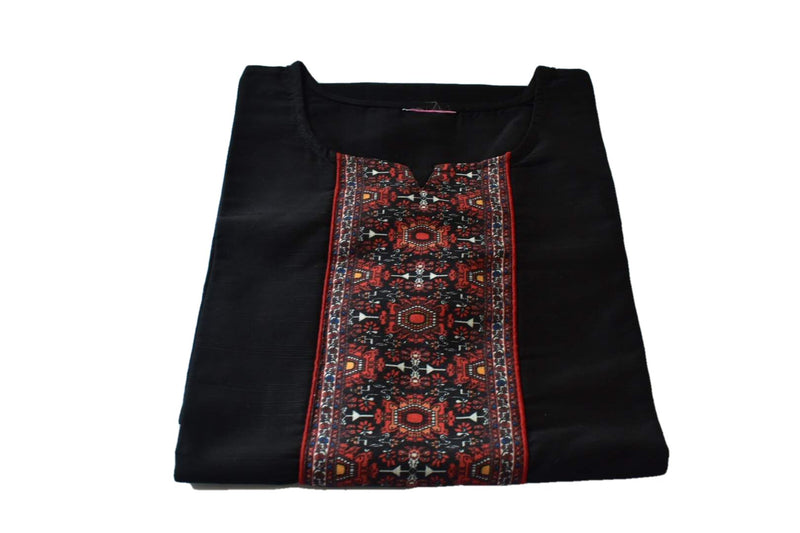 Black Color - Pure Raw Silk Kurti Tunic