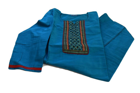 Pure Silk Kurti Top in Aqua Blue color