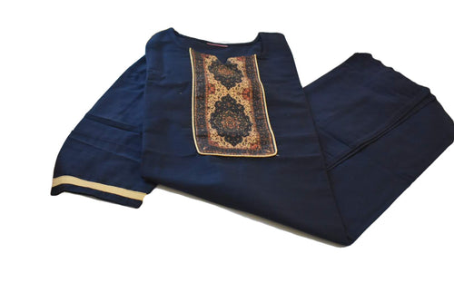 Pure Silk Kurti Top in Navy Blue color