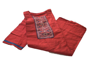 Pure Silk Kurti Top in Red color