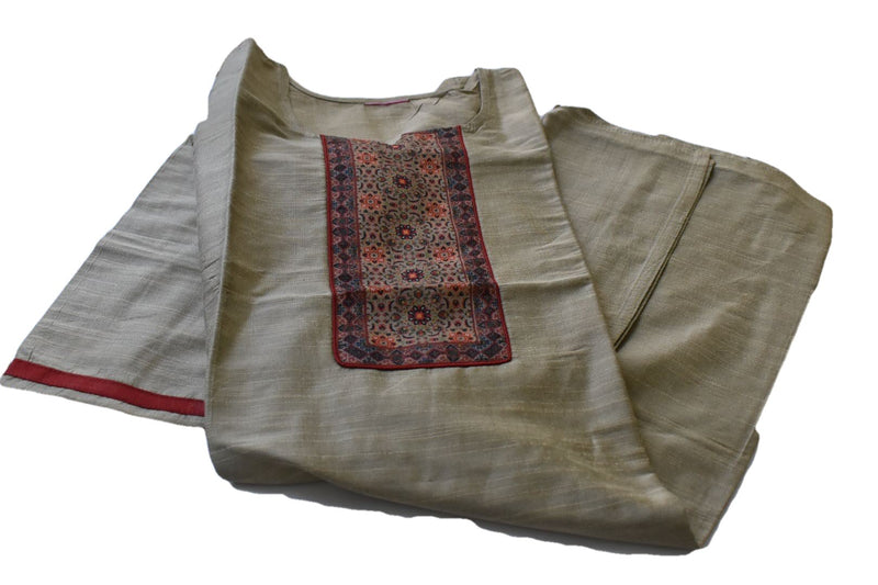 Pure Raw Silk Kurti in Light Brown color