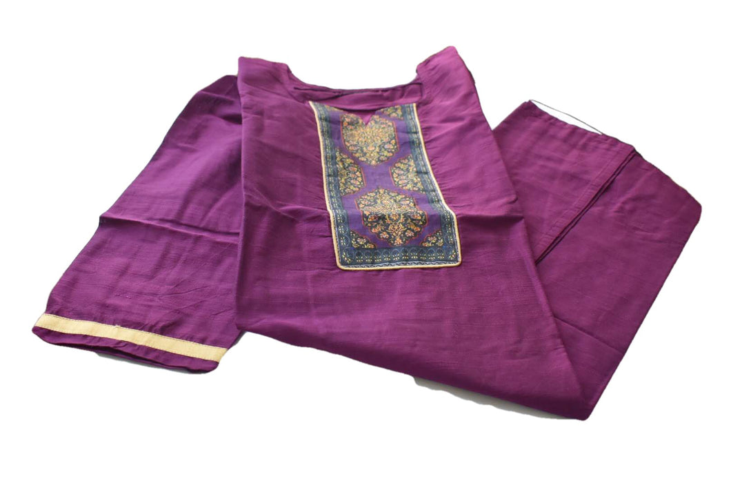 Pure Silk Kurti Top in Purple color