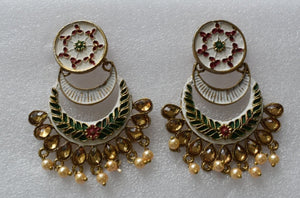 Trendy Gold and Colored Enamel Earrings I - Also used as Gift Item