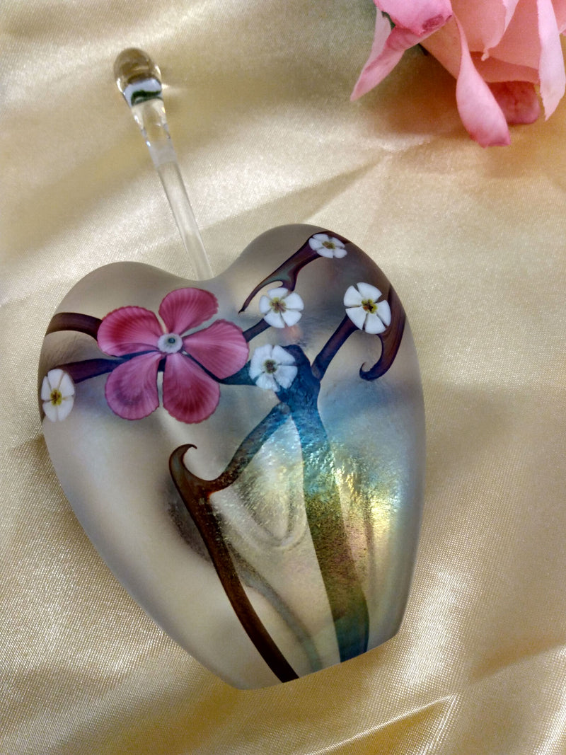 Blown Glass Floral Hand Painted Perfume Bottle - Home Decor