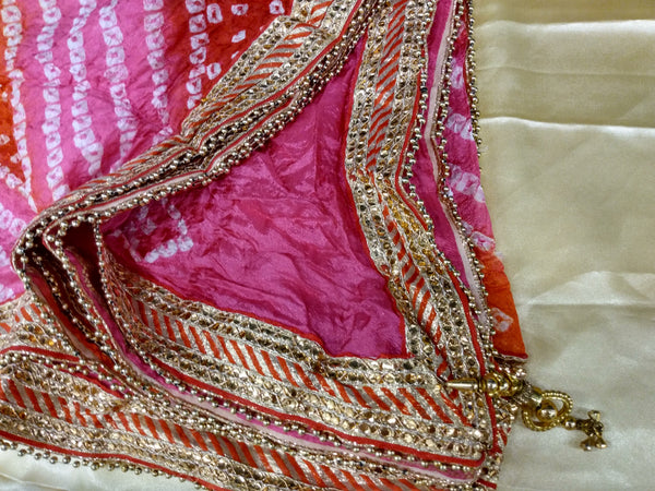 Hot Pink Red Color - Silk Blend Bhandhani Duppatta Scarf - Gotta Patti