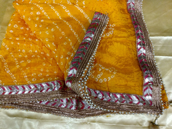 Yellow Color - Gotta Patti Work - Silk Blend Bhandhani Duppatta Scarf- Gold Lace