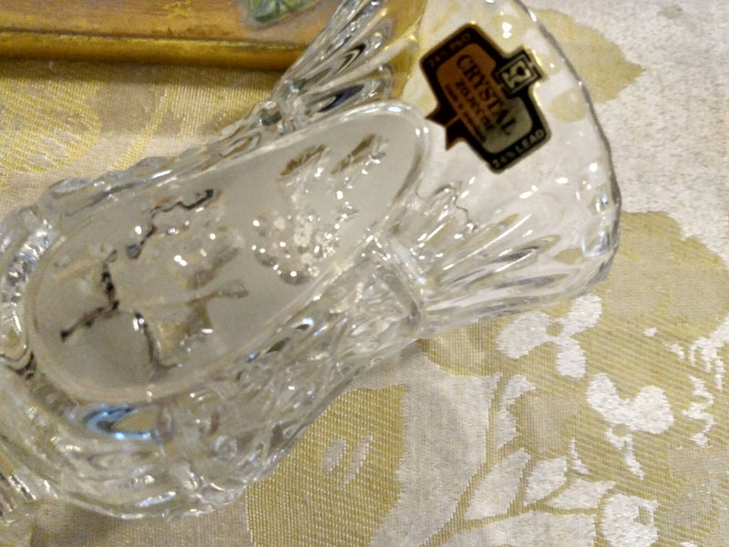 Crystal Glass - Flower Etched Vase- Mid Century Imported  - Table Home Decor
