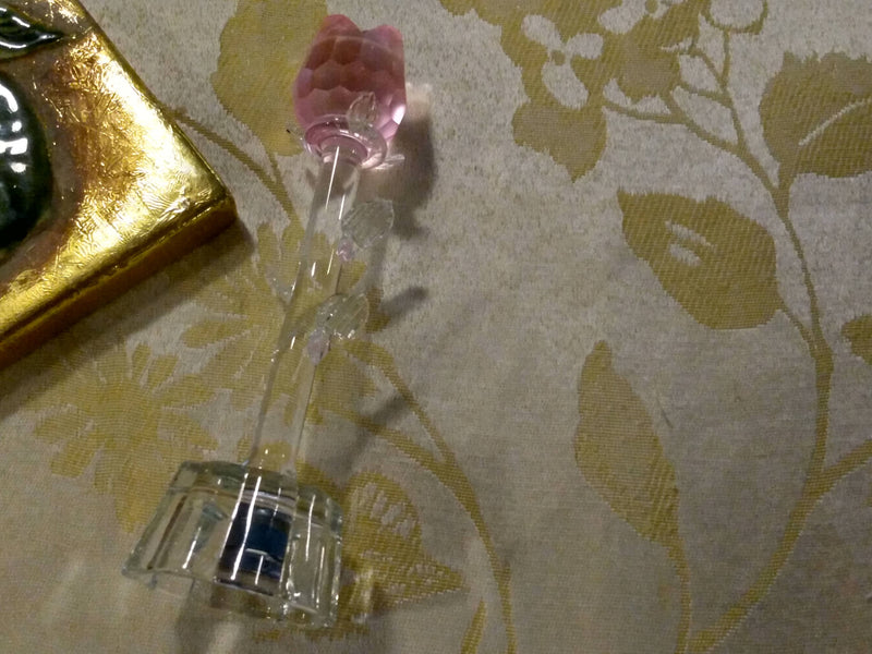 Crystal Glass Flower -  Rose Pattern - Changing Light Flower