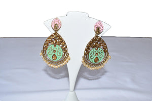 Trendy Gold and Colored Enamel Earrings III , Also used as Gift Item