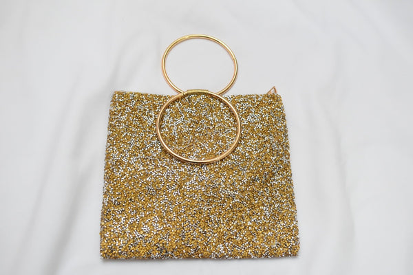 Gold colored Sparkly Hand Purse I with metal ring handle