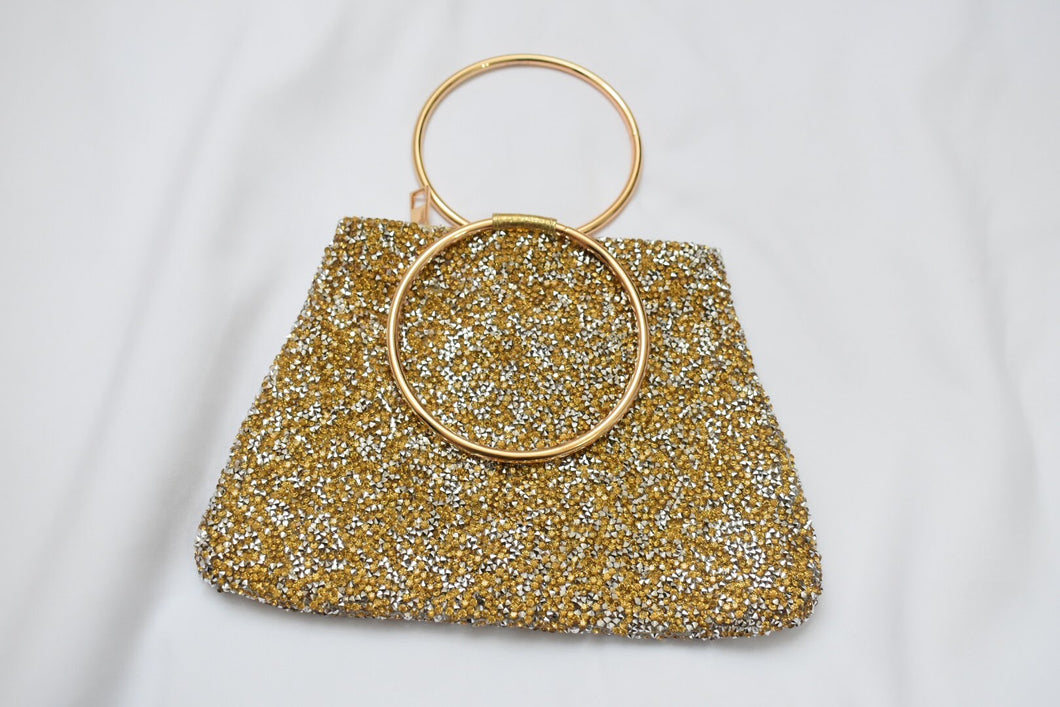 Trendy Gold colored Sparkly Hand Purse II with metal ring handle
