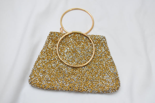 Gold colored Sparkly Hand Purse II with metal ring handle