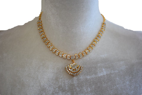 Gold Plated Necklace III with white jewel stone