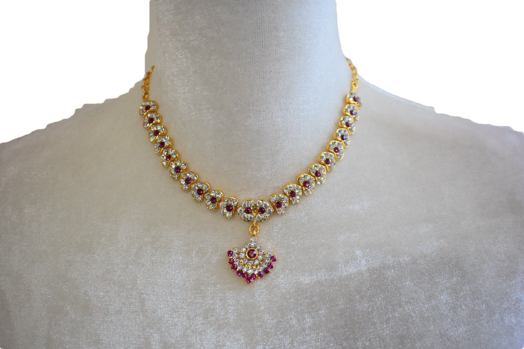 Gold Plated Necklace with earrings V with white and colored jewel stone