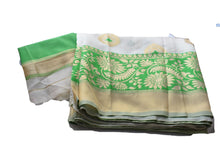 Load image into Gallery viewer, Silk Blend Saree with Satin feel with Flower Zari design in White Green Color