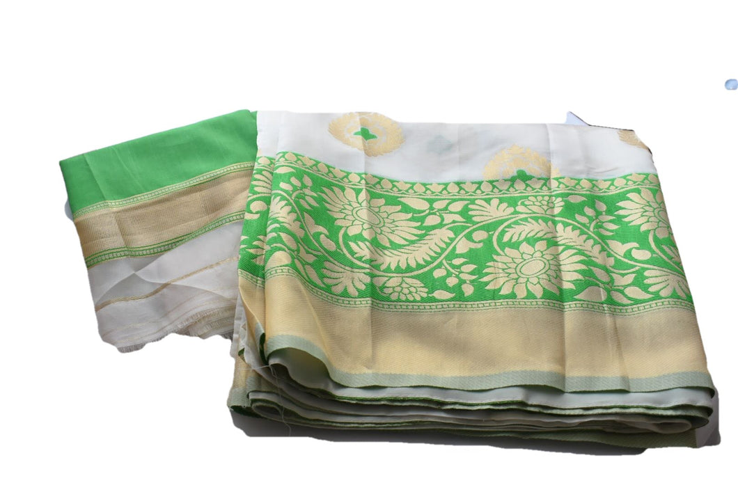 Silk Blend Saree with Satin feel with Flower Zari design in White Green Color