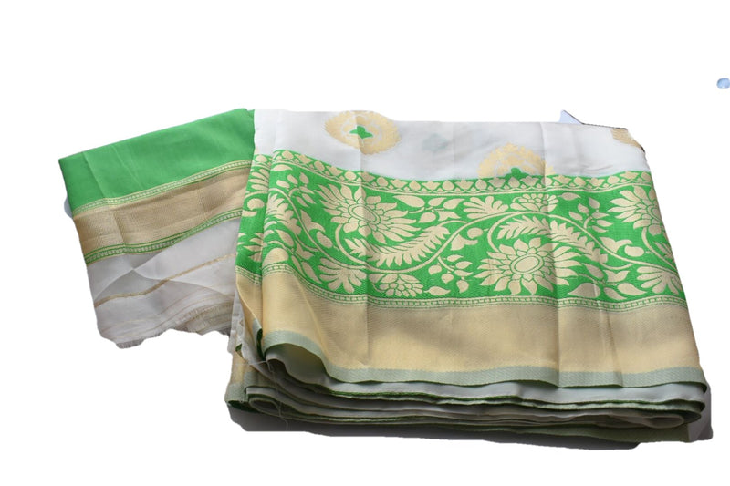 WHITE GREEN COLOR- PURE SILK BLEND SAREE- SATIN FINISH- GOLD ZARI THREAD