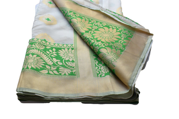 Georgette Silk Satin Saree with Satin feel with Flower Zari design in White Green Color