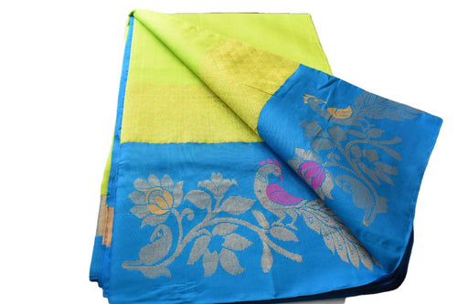 South Silk Cotton Saree with Peacock and Flower Design in Green Color