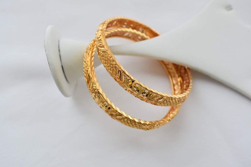 Gold Plated Bangles -Design IV - Size - 2.4