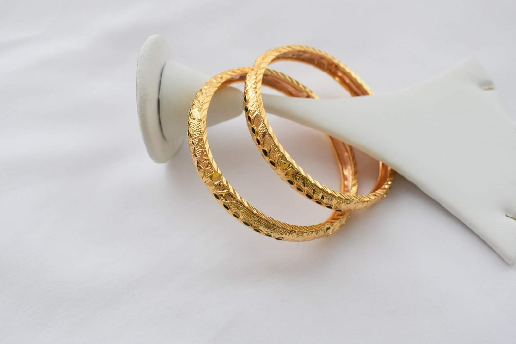 Gold Plated Bangles -Design II - Size - 2.2/2.4