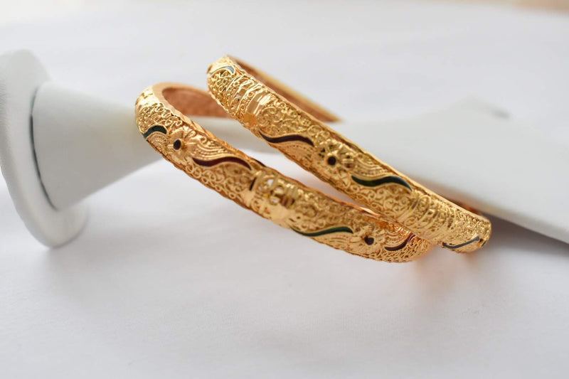 Gold Plated Kada Bangle - Minakari Work - Engraved and Emboss Pattern