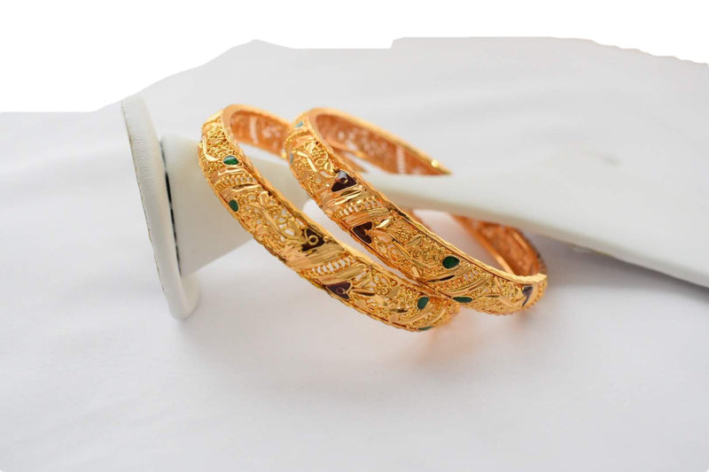 Gold Plated Kada Bangle - Minakari Work - Engraved and Emboss Pattern- Small Size