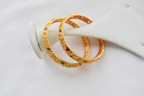 Gold Plated Bangles -Design III - XSmall Size-2.2