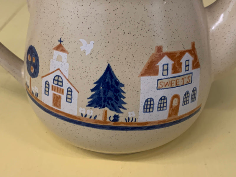 Ceramic - Mid Century Coffee Pot - Fire House Pattern - New