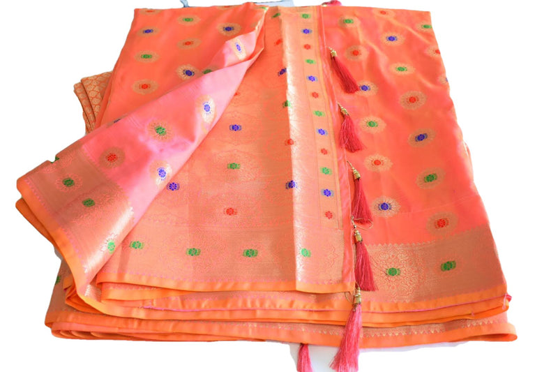 Pink Peach Color - Pure Banarasi Silk Saree- Satin Feel -  Gold Zari Silk Thread Pattern