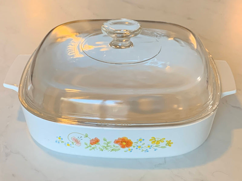 Mid Century Flower Bouquet - Corning Ware Casserole - Square Shape With  lid