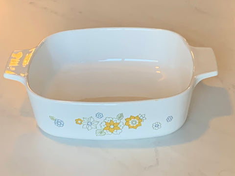 "Corning ware Casserole Floral Bouquet I 10"" to 12"" without lid"